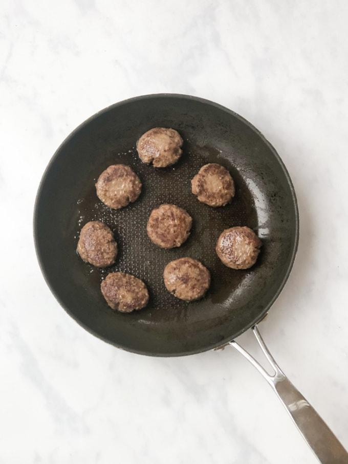 meatballs in a frying pan