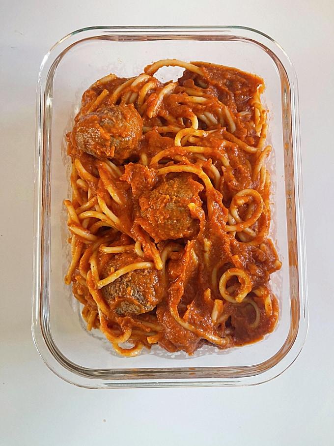 leftover spaghetti meatballs in a glass container