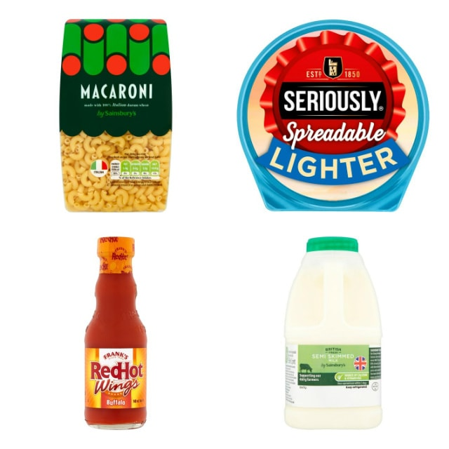 collage showing recipe ingredients of macaroni, Seriously Spreadable Light, Frank's Red Hot Buffalo Sauce and milk