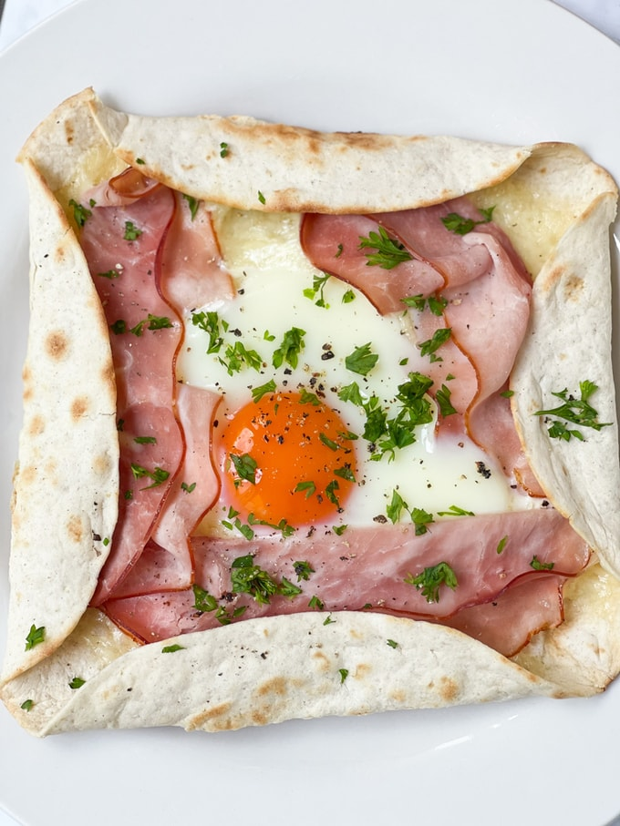 close up of the ham & cheese galette made with a tortilla wrap