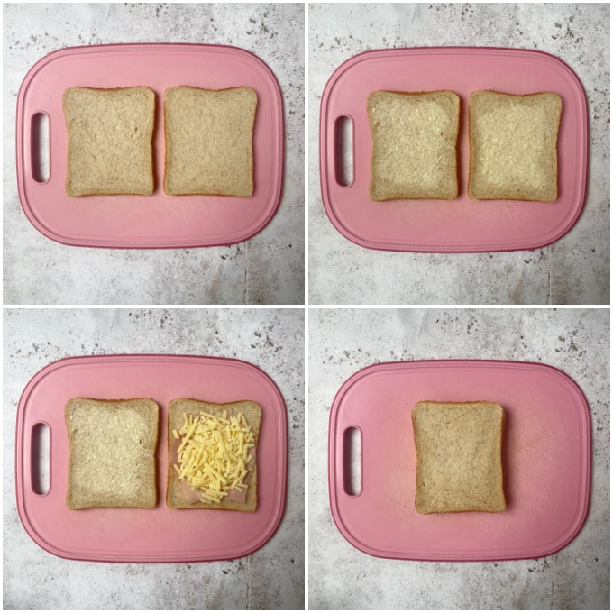 images for steps 1 to 4 for making toaster toasties