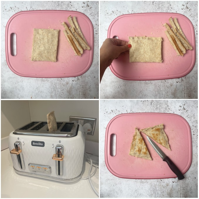 images for steps 5 to 8 for making toaster toasties